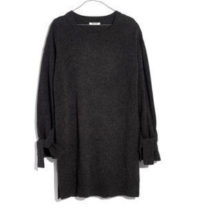 Madewell Tie Cuff Sweater Dress in Grey S